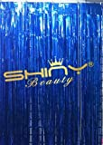 ShinyBeauty Foil Fringe-Curtain-Blue-21FTX10FT,Tinsel Metalic Photo Booth Background for Party,Prom,Birthday,Wedding,Event(Blue)