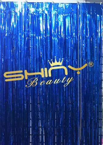 Metalic Streamers - ShinyBeauty Foil Fringe-Curtain-Blue-21FTX10FT,Tinsel Metalic Photo Booth Background for Party,Prom,Birthday,Wedding,Event(Blue)