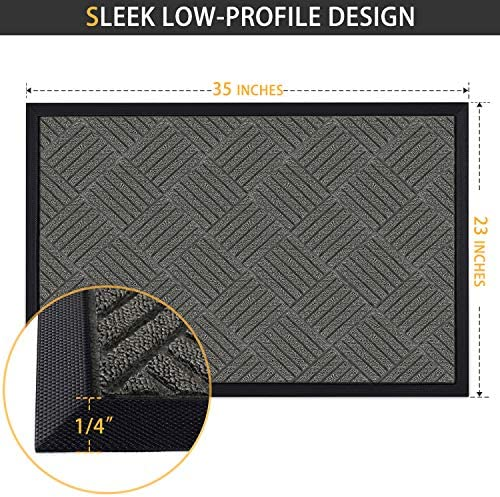 Magicfly Durable Rubber Door Mat, 35 x 23 Inch Front Door Mat for Indoor and Outdoor Use, Waterproof Door Mats Outside For Entryway, Garage, Patio, Dark Gray