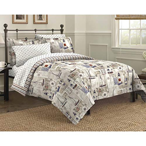 7 Piece Sailor Themed Comforter King Set, Seaside Inspired Bedding, Nautical Vintage Harbor Lighthouses, Features Sail Boats, Reversible Stripe Pattern, Cape Cod, Beach Style, Faded White