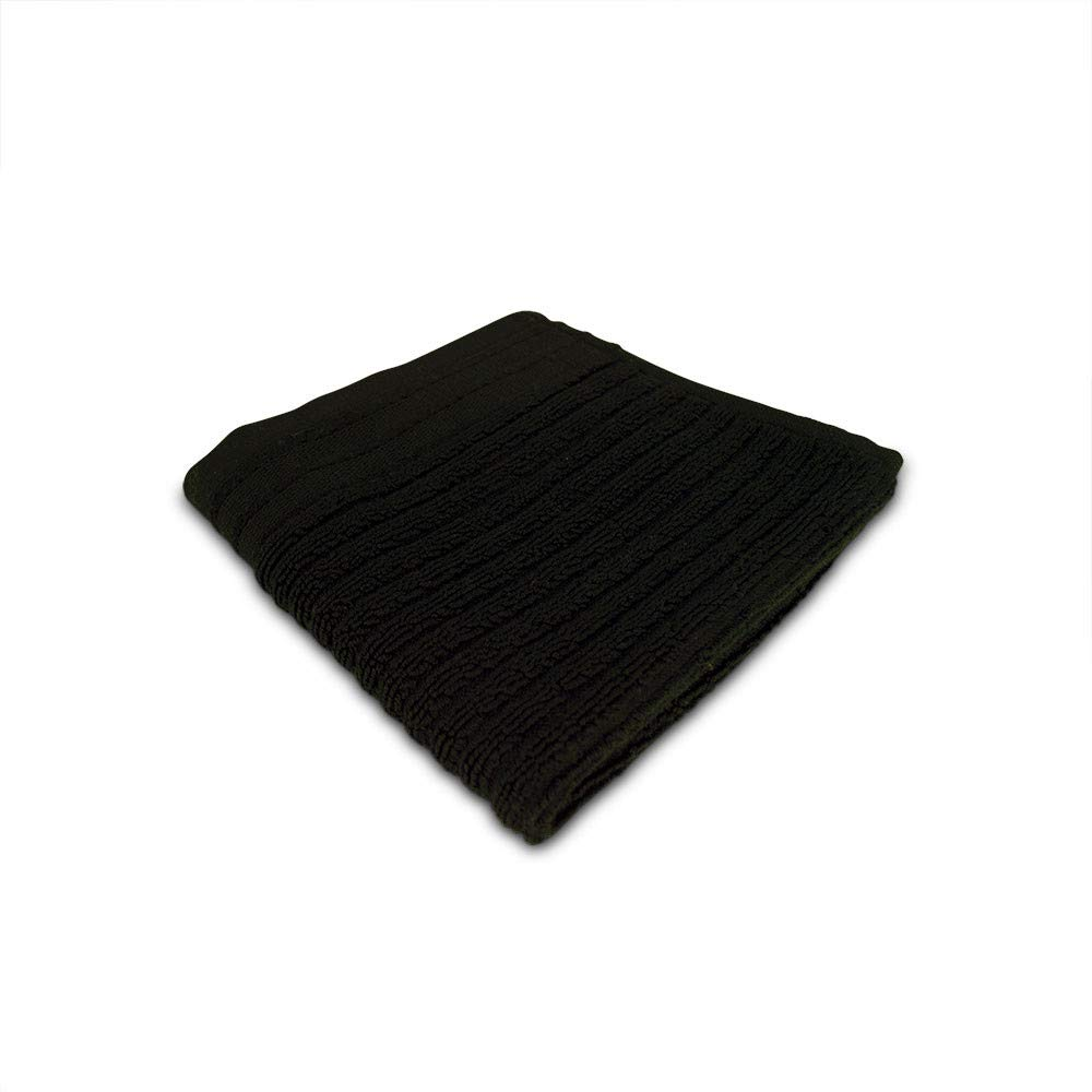 Vivaterra Organic Cotton Jacquard Rib Wash Cloth - 13 x 13 - Black