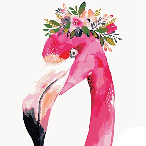 Adarl DIY Oil Painting Paint By Number Kit Image Drawing On Canvas By Hand Coloring Arts Crafts & Sewing(Floral Flamingo)