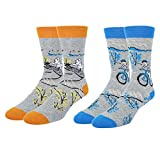 Novelty Bike Crew Socks Crazy Funny Bicycle and Cycling Boy Patterned Dress Socks for Men,2 pairs with Gift Box