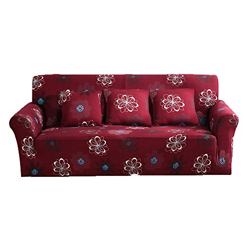 3 Piece Sofa Collection (ELEOPTION Stretch Fabric Sofa Slipcover 1 2 3 4 Piece, Elastic Sectional Sofa Cover Slipcover Protector Couch Pure Color For Moving Furniture Living Room (Flower-Red, Three seater(70''-90'')))