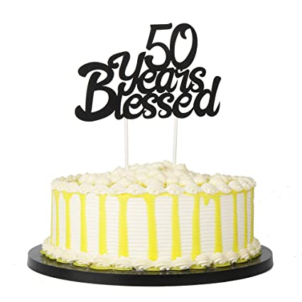 Amazon PALASASA Black Single Sided Glitter 50 Years Blessed