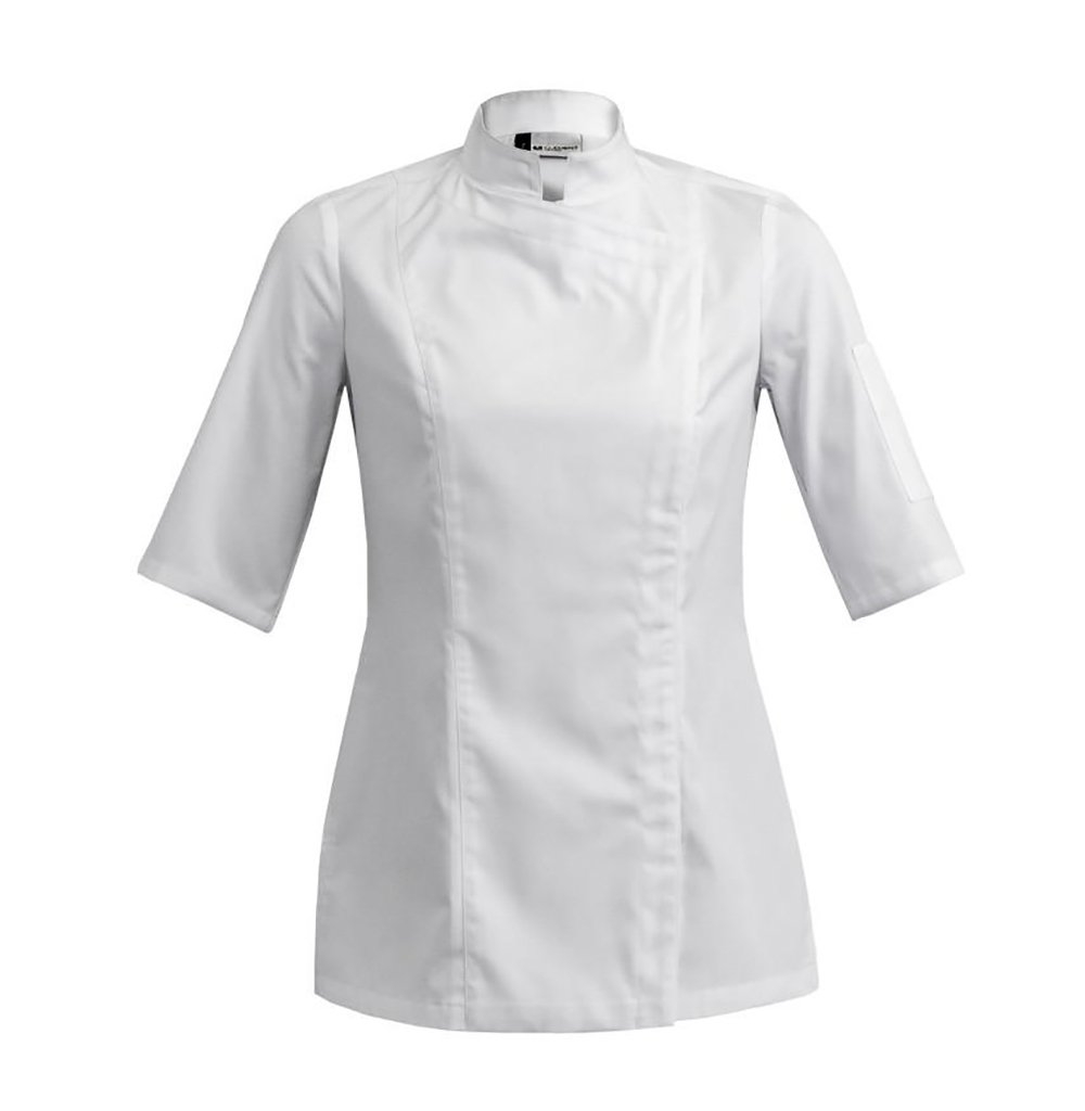 SIENNE Short Sleeve Womens Culinary Chef Jacket with Square Mandarin Collar by Clement Design (L - 34/36 - T2, White) by Clement Design USA
