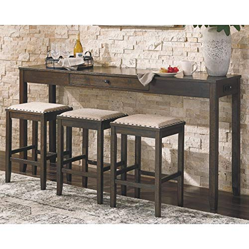 Rectangular Counter Height Dining Set - Table and 3 Bar Stools Brown Colonial Rectangle Wood Finish Breakfast Nook (Bar Size Stool Counter For 36 What Inch)