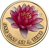 Pink Lotus Flower One Day at A Time Serenity Prayer Medallion Chip