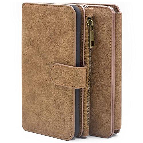 For iPhone 5/5s 5se Wallet Case, MEGSHI Premium Zipper Wallet Leather Detachable Magnetic Case Purse Clutch Removable Case Card Slots Flip Credit Cover for iPhone 5/5s 5se 4 inch (Brown)