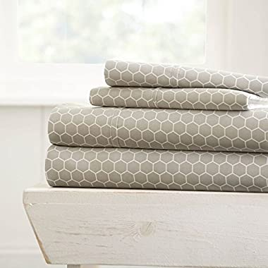 Simply Soft 4 Piece Sheet Set Honeycomb Patterned, Queen,  Light Gray