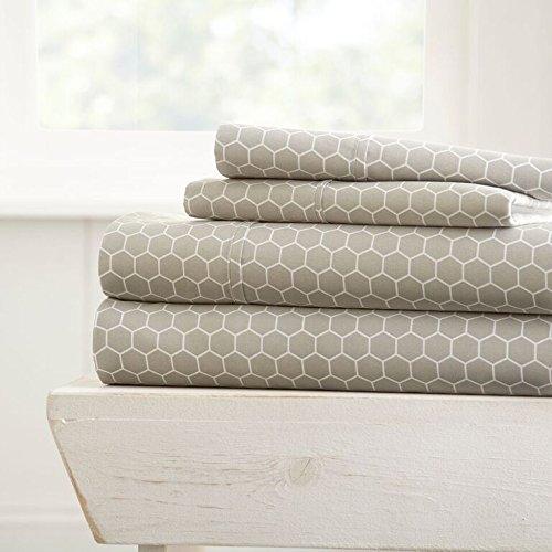 Simply Soft 4 Piece Sheet Set Honeycomb Patterned, Full, Light Gray Duvet Cover Honey