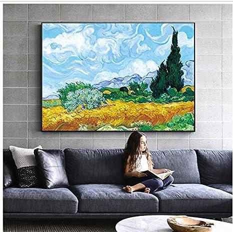 nr Campo de Trigo con cipreses pintando réplica en la Pared Paisaje impresionista Arte de la Pared Cuadro en Lienzo 60x80cm Sin Marco