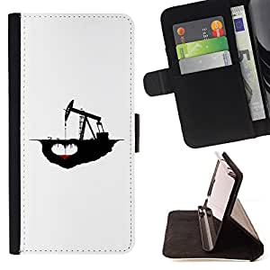 For HTC One Mini 2/ M8 MINI Oil Drilling Caricature Ecosystem Destruction Climate Style PU Leather Case Wallet Flip Stand Flap Closure Cover