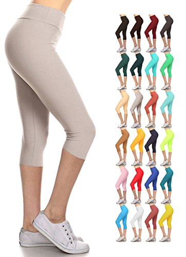 Leggings Depot Buttery Soft Women's Yoga Gym Workout Higher Waist Solid Capri Leggings Pants 22+ Colors (Light Grey, 3X5X Plus (Size 22W-32W)) by Leggings Depot