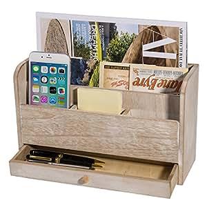 Coffee Brown Desk Mail Organizer w/ Storage Drawer ...  Desktop Mail Organizer For Kitchen