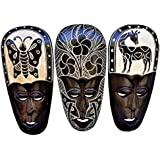 All Seas Imports Gorgeous Set Of (3) Hand Chiseled Wood African Style Wall Decor Flower, Butterfly, and Giraffe Masks