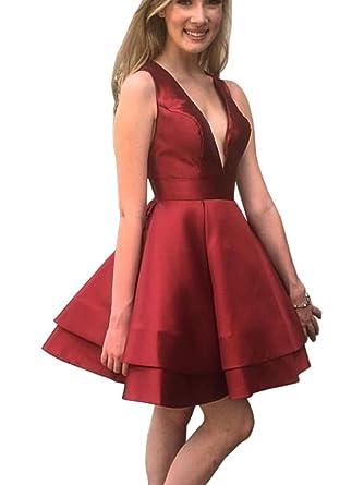 8aab0601ed8 Dressylady Women s Deep V Neck Sleeveless Satin Short Prom Homecoming Dress  at Amazon Women s Clothing store