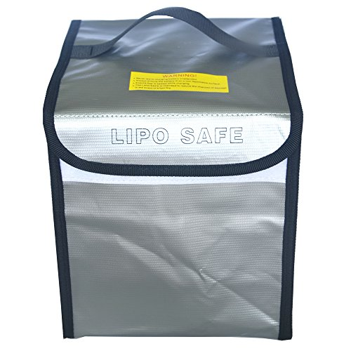 Lipo Battery Large Bag Fireproof Explosionproof Pouch Safe Battery Bag Lipo Guard Sack for Charge & Storage Big Size 195×200×210mm Can Take 9 Batteries