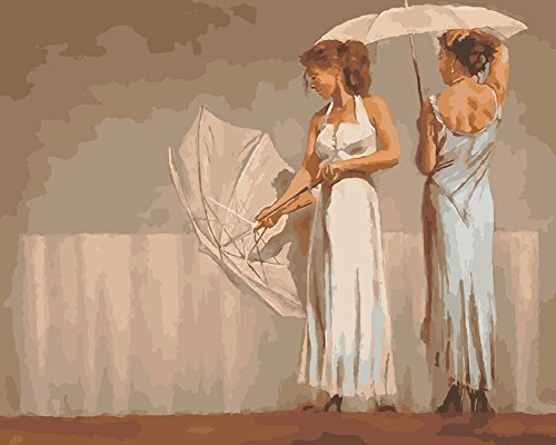 Wowdecor Paint by Numbers Kits for Adults Kids, Number Painting - Beautiful White Dress Girl & Umbrella 16x20 inch (Framed) -
