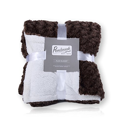 Pembrook Plush Throw Blanket – Brown – Super Soft and Warm Reversible Plush Faxu Fur and Sherpa Shearling Lining – Sizes 51 X 63 inches – Great for Couch, Bed, Sofa, loveseat