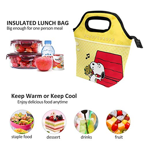 Lunch Bag Music Snoopy Insulated Lunch Tote Boxes Cooler Bag For Adults Men Women Kids Boys Nurses Teens