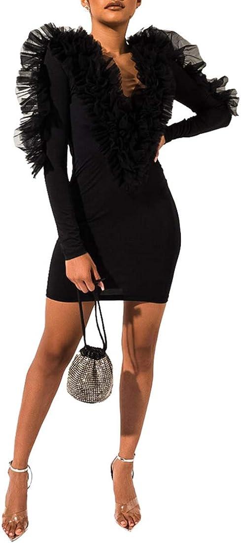Womens Sexy V Neck Long Sleeve Ruffle Lace Gauze Boydcon Night Shift Club Mini Dress