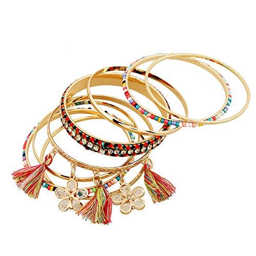 Lovelychica Bohemian Tassel Bracelet Beaded Bangle Bracelet 9 Pcs DIY Jewelry Set Women by Lovelychica (Image #3)