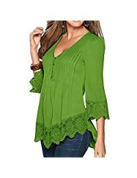 Shinekoo Women V-neck Plus Size 3/4 Sleeve Lace Shirt Loose Top Blouse