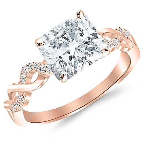 1.63 Ctw Twisting Infinity Gold and Split Shank Pave Set Engagement Ring w/ Cushion 1.5 Carat Forever One Moissanite Center Moissanite Cushion Wedding Set Ring