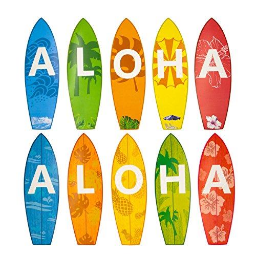 Aloha Surfboard Cutouts for Classroom Luau Beach Party Decoration 10 - Tropical Surfboard