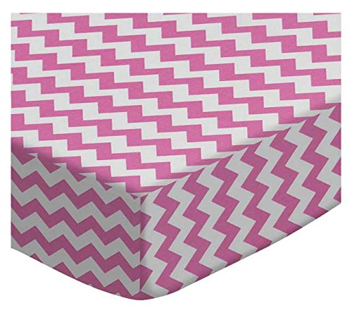 SheetWorld Fitted Cradle Sheet - Bubble Gum Pink Chevron Zigzag - Made In USA