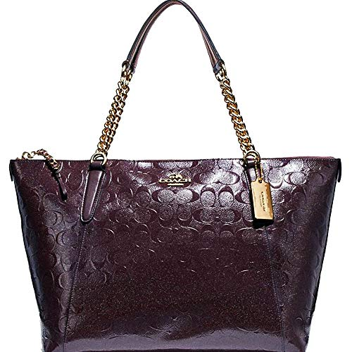 New Authentic COACH Patent Leather ELEGANT Merlot, Dark Wine, Burgundy Shoulder Tote Bag