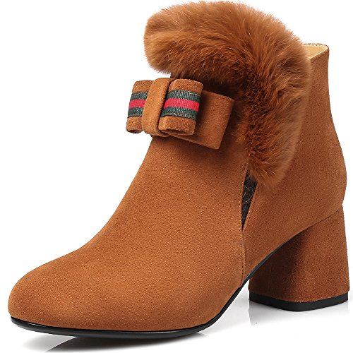 Nine Seven Suede Leather Womens Round Toe Chunky Heel Fur Handmade colorful Retro Ankle Boots Brown