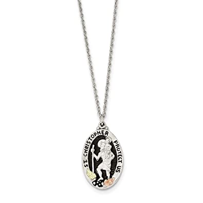 8ce80860b91 Image Unavailable. Image not available for. Color: Sterling Silver 12K  Accents Antiqued St. Christopher Necklace ...