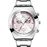 Women Steel Watch, OL Wristwatch with Luminous Needle, Convex Glass Dial, Business Female Dress Clock (Pink)