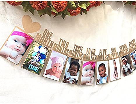 Recording 1-12 Month Photo Party Wall Hanging Props Decor Baby Shower 1st Birthday Baby Photo Frame Bunting Banner Newborn to 12 Months,Monthly Milestone Photograph Bunting Garland Christening