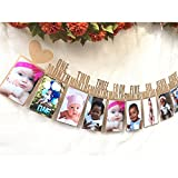 Picture Garland,Photo Banner Baby First Year Photo Frame Picture Hanger Garland Photo Display Nursery Banner Bunting Family Wall Art Decor Memory Baby Shower Birthday Xmas Christening Gifts