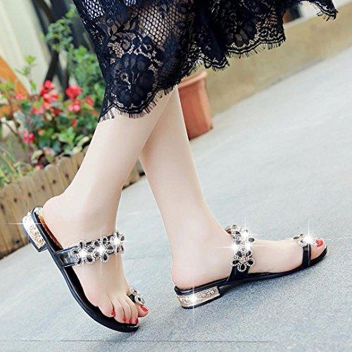 Colorful TM Fashion Women Teenager Girl Rhinestone Floral Open Toe Shoes Bohemia Anti Skidding Low Heel Slippers Black KtHA8kZqo