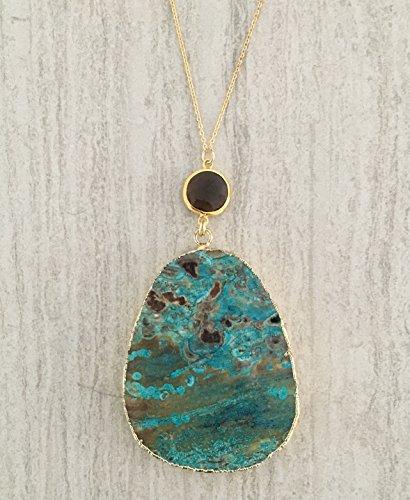 Large Turquoise Ocean Agate Smoky Quartz Gold (Brown Quartz Pendant)