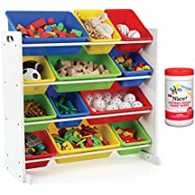 Tot Tutors Kids 12 Plastic Bin Toy Storage Organizer in White/Multicolor with Antibacterial Hand Wipes