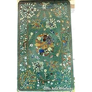Gifts And Artefacts - Tavolo rettangolare in marmo verde con intarsio in intarsio, per decorare mobili da balcone, 80 x… 4 spesavip