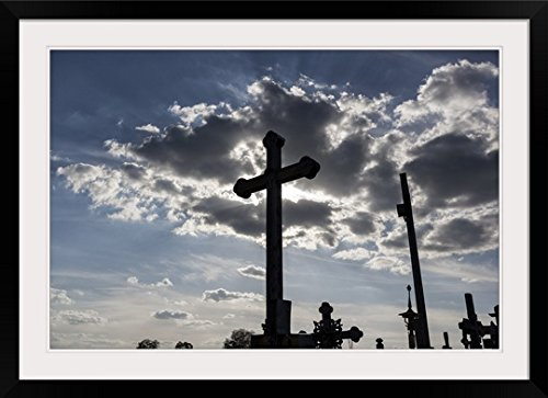 GreatBIGCanvas ''Hill of Crosses Catholic site of pilgrimage'' Photographic Print with Black Frame, 36'' x 24'' by greatBIGcanvas