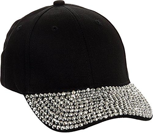 (Crystal Case Studded Rhinestone Brim Adjustable Baseball Cap Hat (Black))