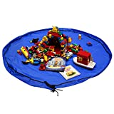 Whale Life Toys Storage Bag and Play Mat, Quick Cleanup for Lego Storage, Large 60 inches Round (Blue)