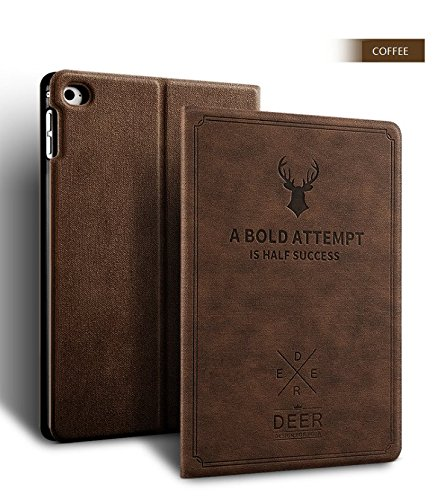 Apple New iPad 9.7 Case 2017 2018 generation, Deer book Pattern Notebook style Light weight Design Smart shell auto sleep/wake with Stand folio PU Leather Hard Cover Case (New iPad 9.7, Coffee) by LiViTech