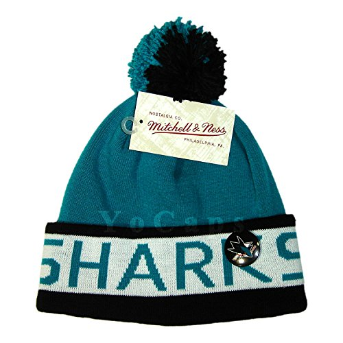 Kings Logo Pin (Mitchell and Ness NHL San Jose Sharks 2 Tone Cuffed Knit Pom Beanie Cap with Pin)