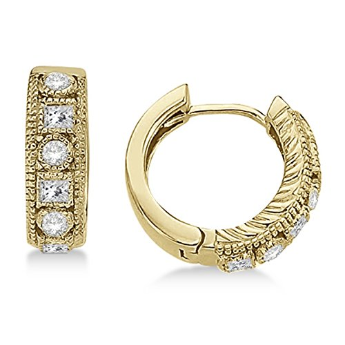 (Round and Princess Cut Diamond Huggie Earrings 14k Yellow Gold (0.50ct))