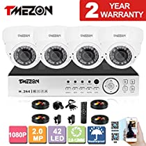 TMEZON 8CH AHD 1080P System CCTV Cameras Surveillance Security System 4x 2.0MP Night Vision Outdoor 2.8mm-12mm Zoom Lens AHD Camera