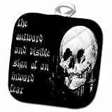 3dRose Taiche - Halloween - Skulls - All Is Vanity - ghost, halloween, optical illusion, paranormal, seasonal, silhouette, skeleton - 8x8 Potholder (phl_47079_1)