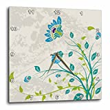 3dRose dpp_119102_1 Lime Green Blue Turquoise and Purple Art Nouveau Style Flowers on Grunge Floral Decorative Nature Wall Clock, 10 by 10-Inch Review